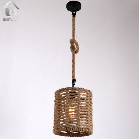 UNITARY BRAND Cream Rustic Braided Hemp Rope Barrel Shape Hanging Ceiling Chandelier Max. 40W With 1 Light