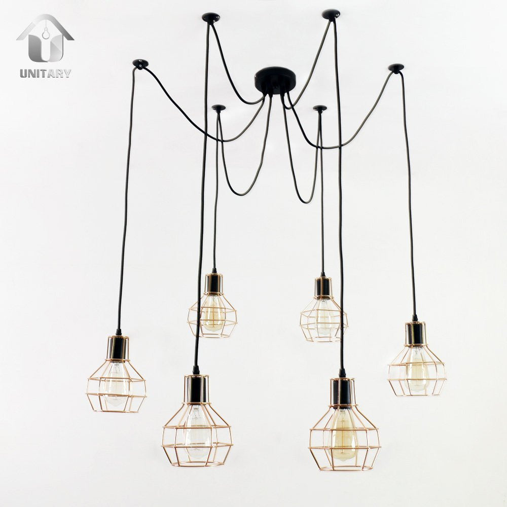 UNITARY BRAND Vintage Barn Metal Chandelier Max 360W With 6 Lights Gold Plating