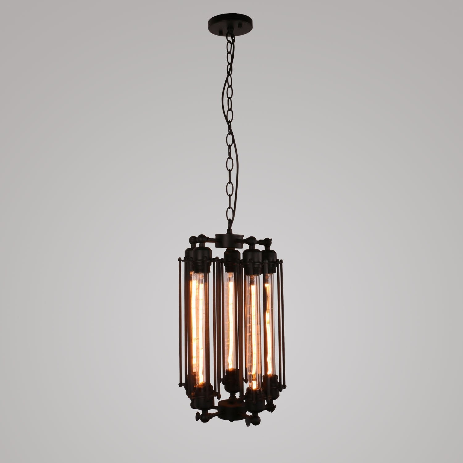 Unitary Brand Industrial Black Metal Large Tubular Multi Pendant Light with 5 E26 Bulb Sockets 200W Painted Finish