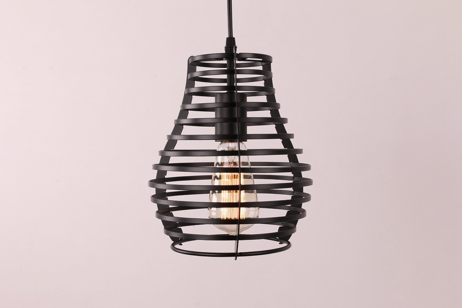 Unitary Brand Vintage Steel Art Black Metal Pendant light with 1 E26 Bulb Socket 40W Painted Finish