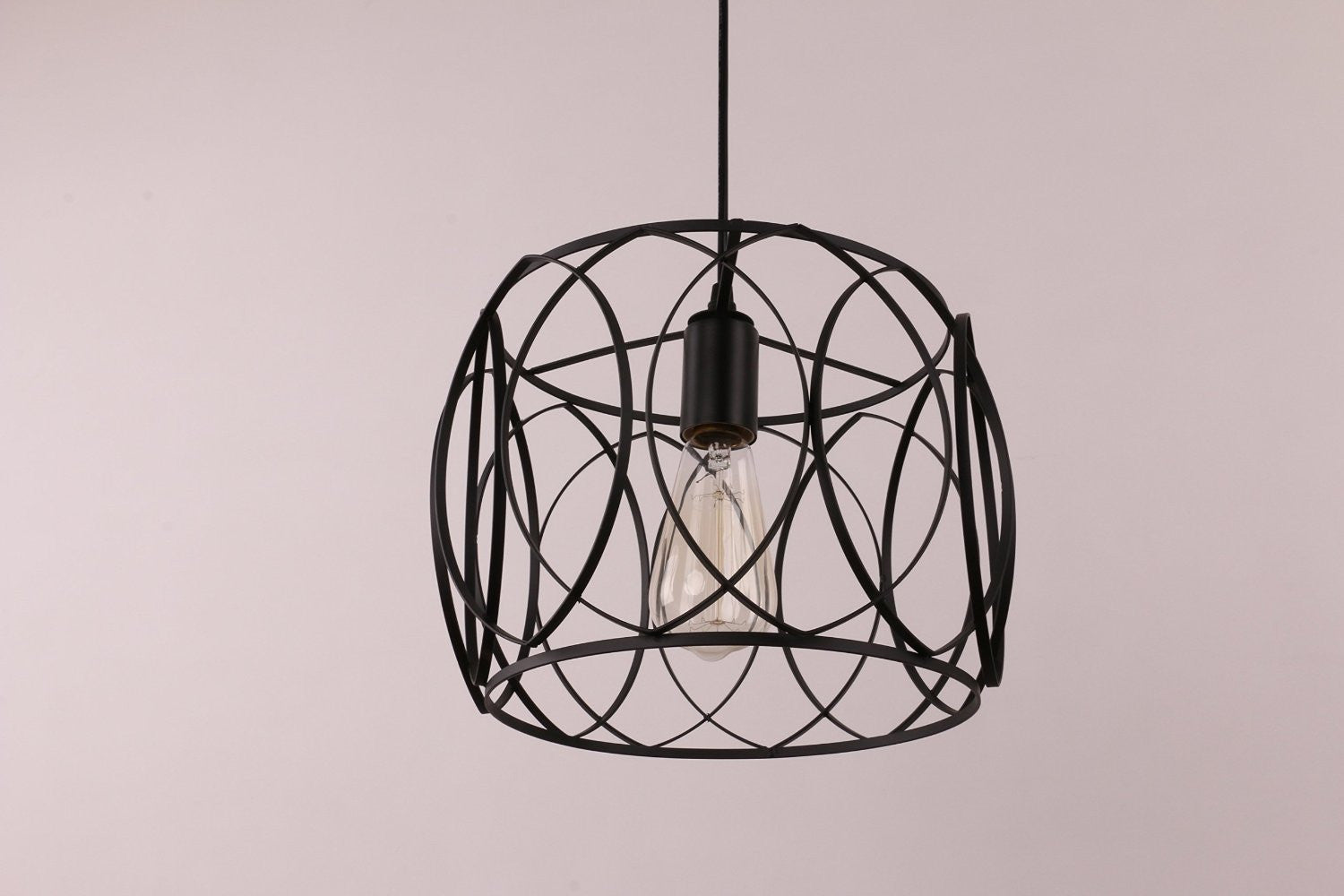 Unitary Brand Vintage Drum Shape Black Metal Round Pendant Light with 1 E26 Bulb Socket 40W Painted Finish