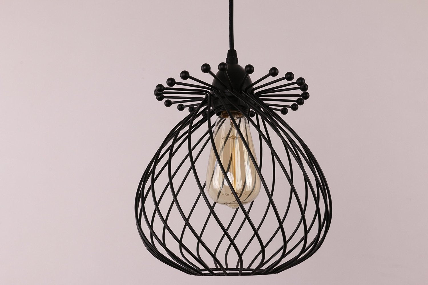 Unitary Brand Vintage Black Metal Orb Pendant Light with 1 E26 Bulb Socket 40W Painted Finish