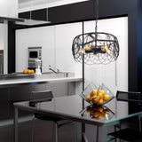 Unitary Brand Vintage Barn Black Metal Drum Shape Round Pendant Light with 5 E26 Bulb Sockets 200W Painted Finish