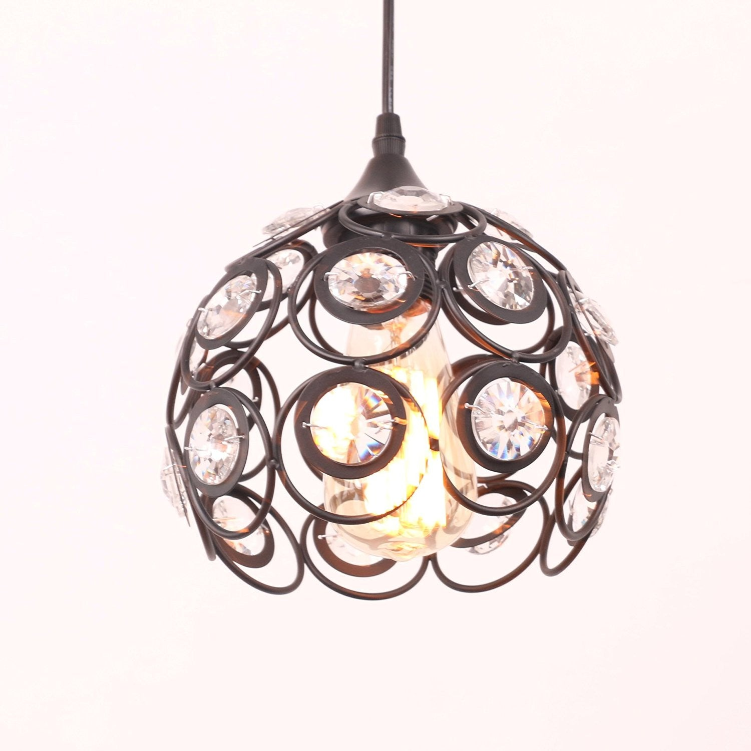 Unitary Brand Antique Black Metal Crystal Pendant Light with 1 E26 Bulb Socket 40W Painted Finish