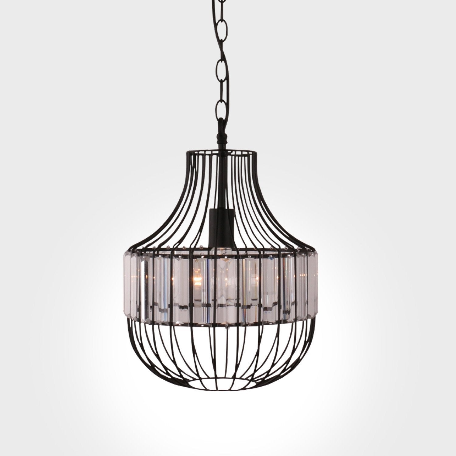 Unitary Brand Antique Black Metal Crystal Lantern Cage Dining Room Ceiling Light Vintage Retro On Wiring Led Lights Pendant With 1 E26 Bulb Socket 40w Painted Finish