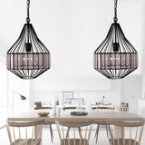 Unitary Brand Antique Steel Art Crystal Metal Cage Dining Room Pendant light with 1 E26 Bulb Socket 40W Painted Finish