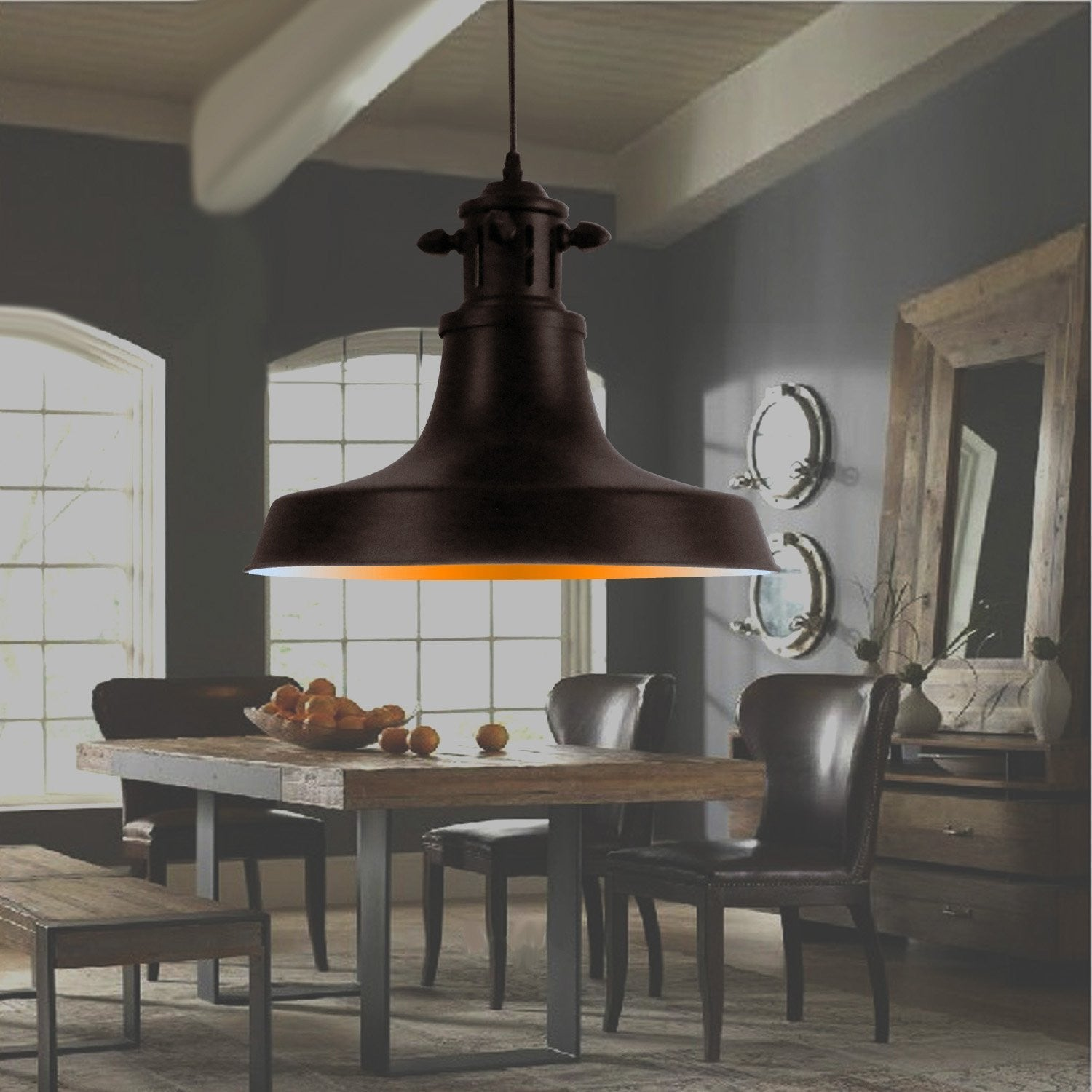 Unitary Brand Rustic Black Metal Shade Barn Pendant light with 1 E26 Bulb Socket 40W Painted Finish