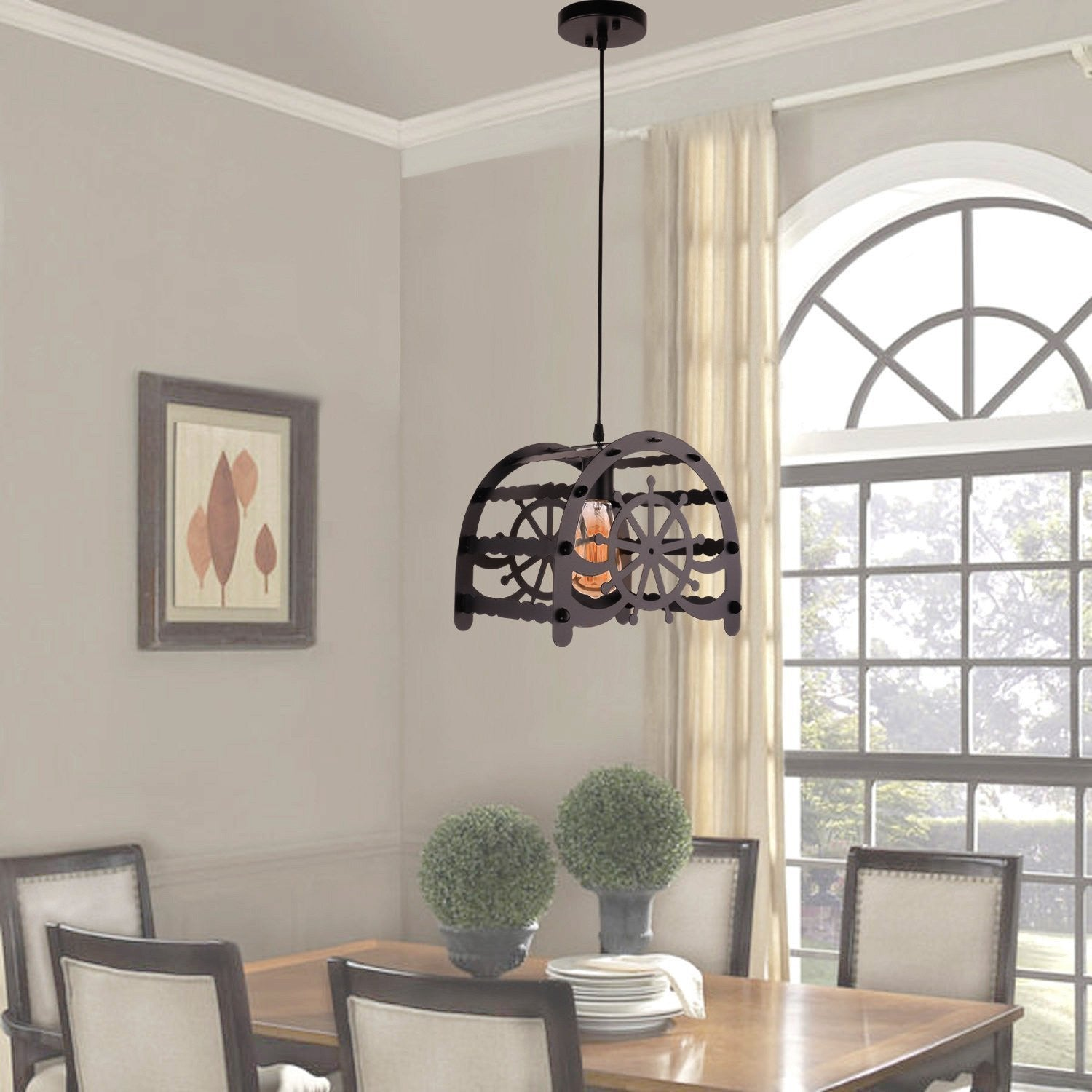 Unitary Brand Rustic Black Metal Rudder Pattern Pendant light with 1 E26 Bulb Socket 40W Painted Finish
