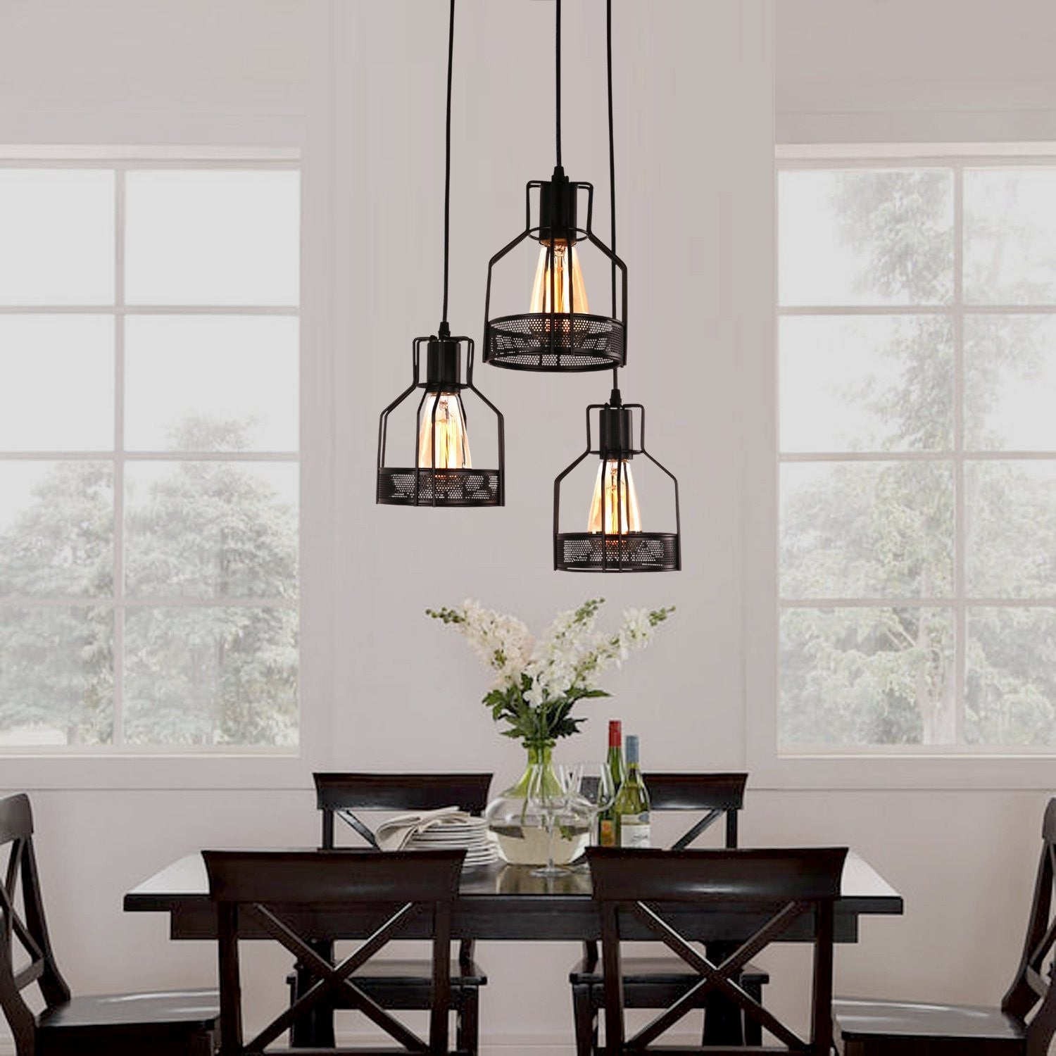 Exceptionnel Unitary Brand Rustic Black Metal Cage Shade Dining Room Pendant Light With  3 E26 Bulb Sockets 120W Painted Finish