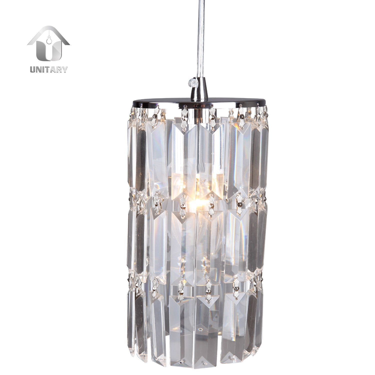 UNITARY BRAND Modern Crystal Mini Pendant Light Max 40W With 1 Light Chrome Finish