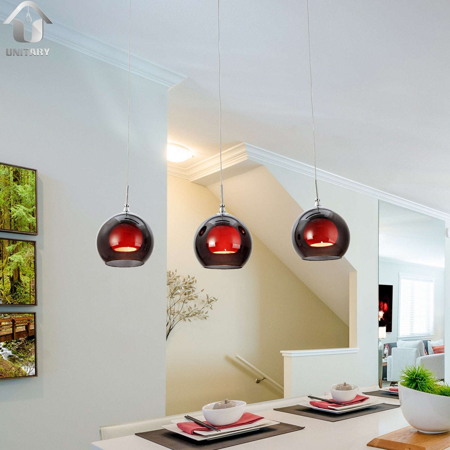 UNITARY BRAND Modern Red Murano Glass Shade Pendant Light Max 120W with 3 lights Plating Finish