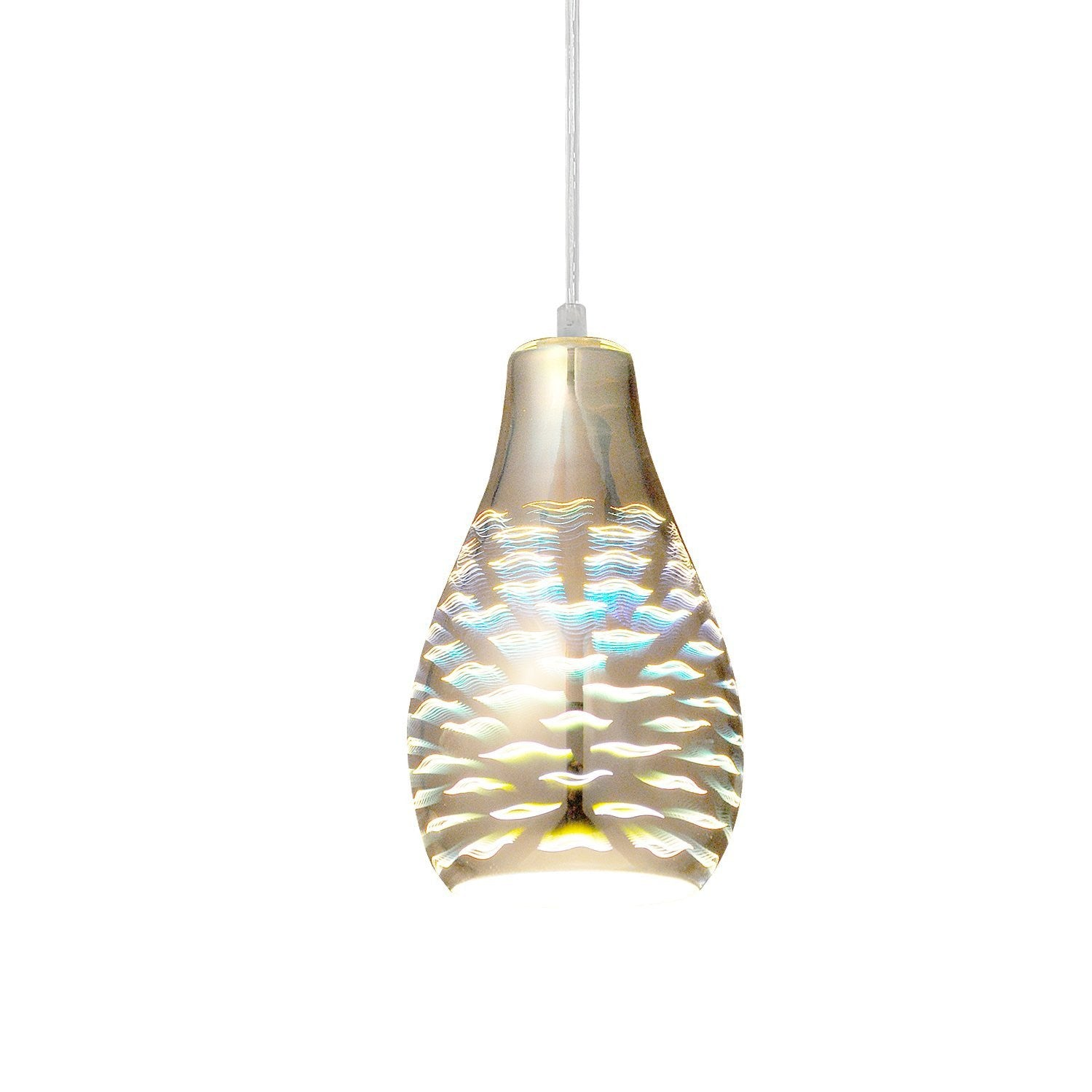 Unitary Brand Modern Silvery 3D Glass Shade Mini Pendant Light Max 40W With 1 Light Socket Plating Finish