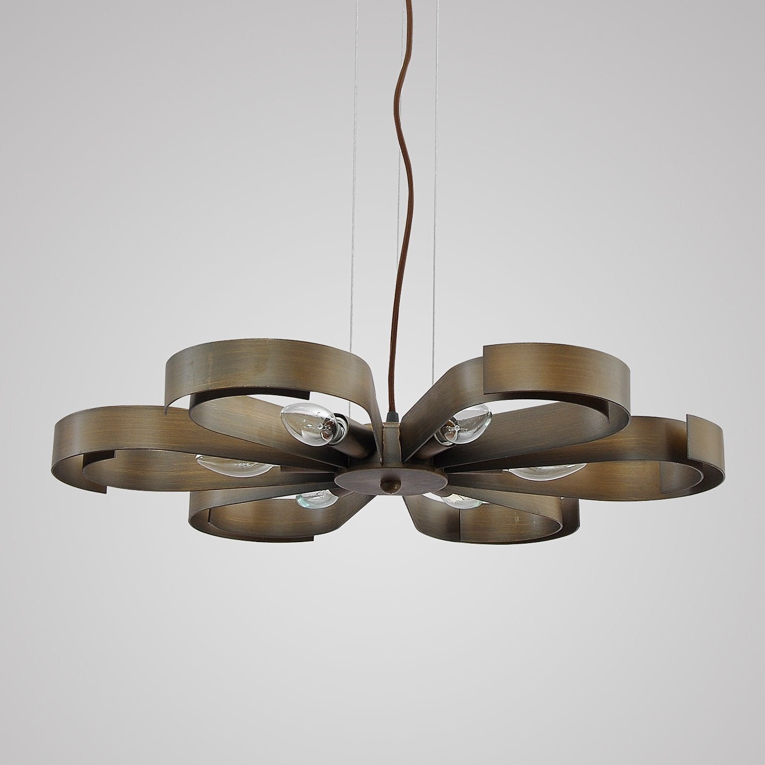 Unitary brand antique copper metal floral pendant light with 6 e12 unitary brand antique copper metal floral pendant light with 6 e12 bulb sockets 360w copper finish aloadofball Image collections