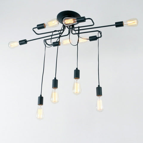 Unitary Brand Antique Black Metal Barn Hanging Flush Mount ceiling light with 10 E26 Bulb Sockets 600W Painted Finish