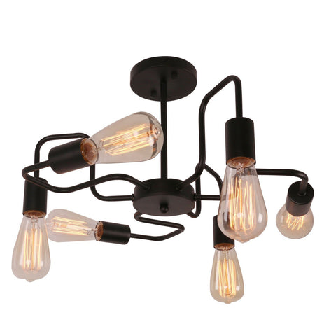 Unitary Brand Black Antique Barn Metal Steel Art Semi Flush Mount Ceiling Light with 6 E26 Bulb Sockets 360W Painted Finish