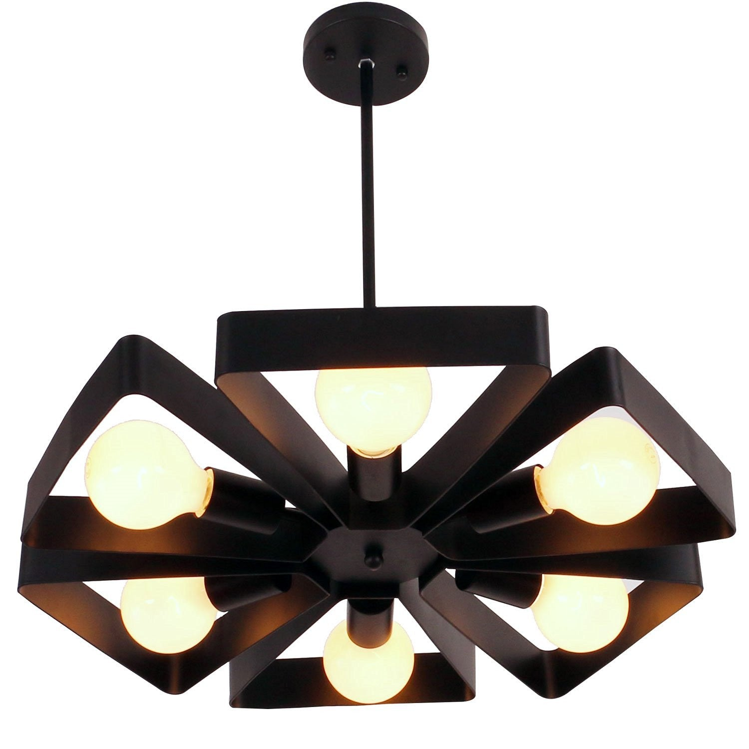 Unitary Brand Black Vintage Barn Metal Floral Pendant Light with 6 E26 Bulb Sockets 360W Painted Finish