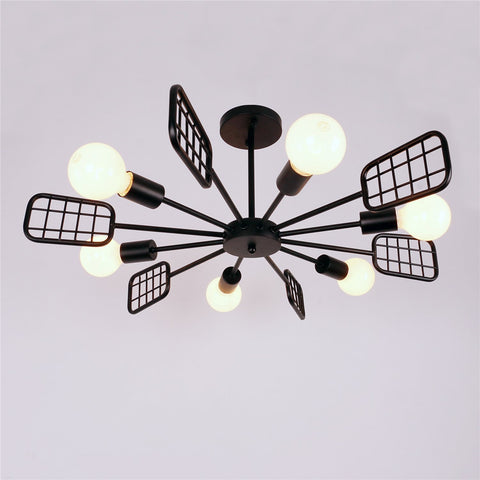 Unitary Brand Black Vintage Metal Steel Art Semi Flush Mount Ceiling Light with 6 E26 Bulb Sockets 360W Painted Finish