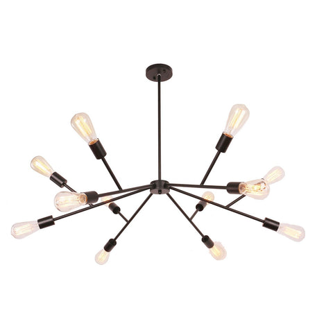 Unitary Brand Black Vintage Metal Sputnik Hanging Ceiling Chandelier with 12 E26 Bulb Sockets 720W Painted Finish