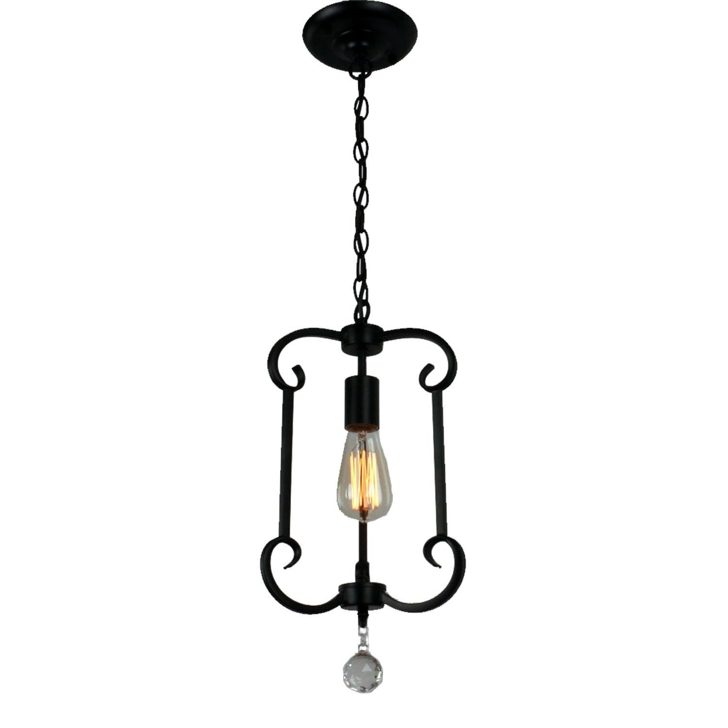 Unitary Brand Traditional Black Metal Steel Art Crystal Single Pendant Light with 1 E26 Bulb Socket 40W Painted Finish