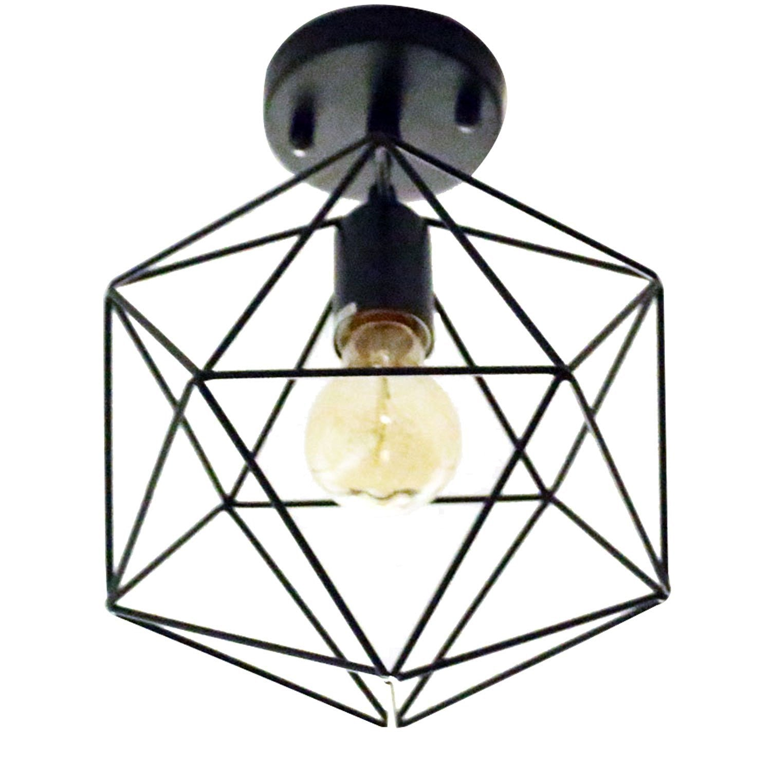 Unitary brand antique black metal cage shade semi flush mount unitary brand antique black metal cage shade semi flush mount ceiling light with 1 e26 bulb socket 40w painted finish aloadofball Images
