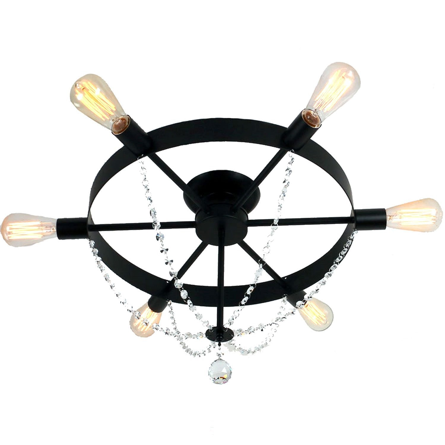 Unitary Brand Antique Black Metal Wheel Crystal Semi Flush Mount Ceiling Light With 6 E26 Bulb Sockets 240W Painted Finish