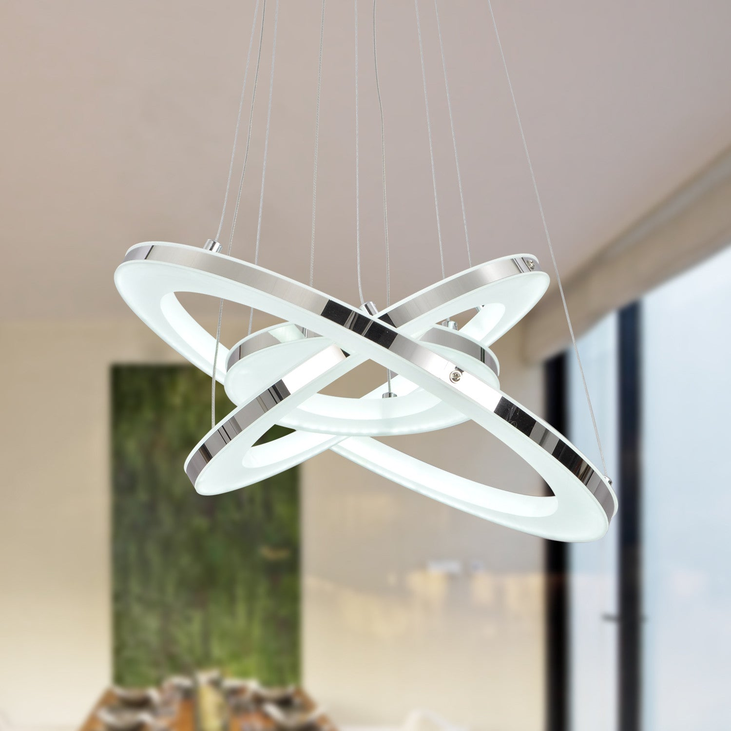 UNITARY BRAND Modern Warm White LED Acrylic Pendant Light With 3 Rings Max 33W Chrome Finish