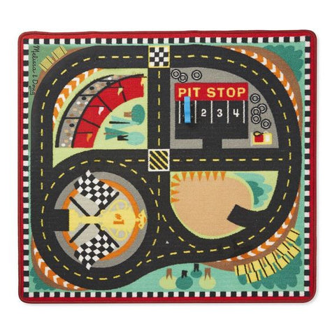 Melissa & Doug Round the Speedway Race Track Rug & Car Set - Toyabella  - 1