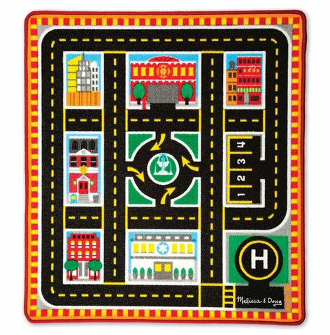 Melissa & Doug Round The City Rescue Rug & Vehicle Set - Toyabella  - 1