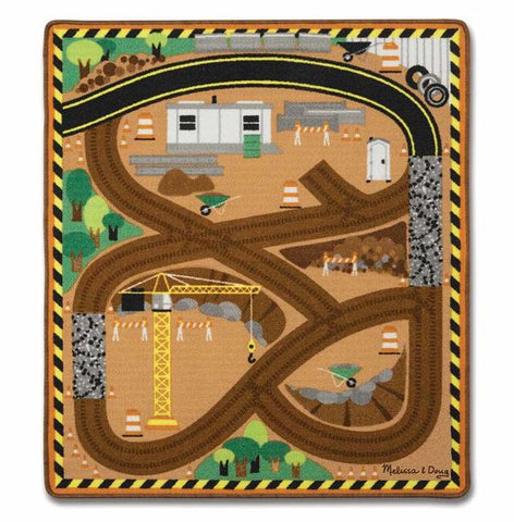 Melissa & Doug Round the Construction Zone Work Site Rug & Vehicle Set - Toyabella  - 1
