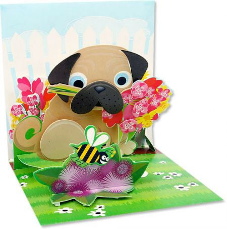 Pop-Up Treasures Greeting Card - Pug Bouquet - Toyabella.com