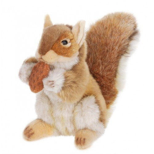 "Hansa Plush Realistic Stuffed Animal - Brown Squirrel w/ Nut 9"" - Toyabella.com"