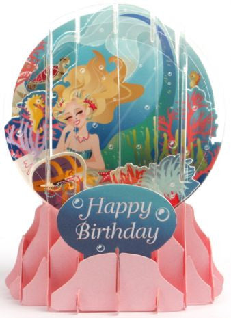 Pop-Up Snow Globe Greeting Card - Mermaid - Toyabella.com