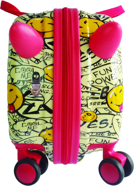 Smiley Cruizer Yipee Ride-On 16-inch Hardside Rolling Suitcase - Toyabella.com