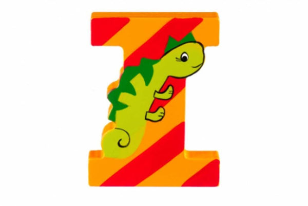 Wooden Freestanding Alphabet Letter (I is for Iguana) - Toyabella.com