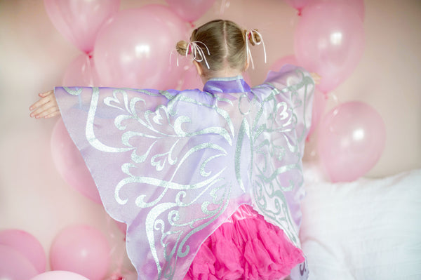 Great Pretenders Girls Organza Glitter Wings (Pink or Lilac) - Toyabella.com