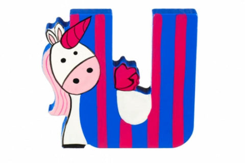 Wooden Freestanding Alphabet Letter (U is for Unicorn) - Toyabella.com