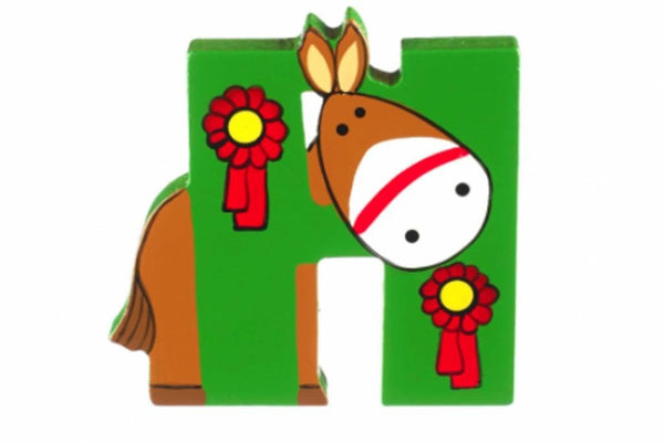 Wooden Freestanding Alphabet Letter (H is for Horse) - Toyabella.com