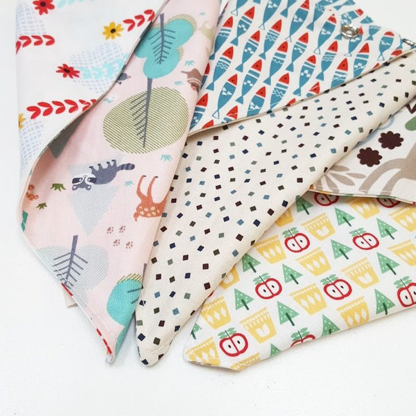 Cats and Triangle Reversible Scarf Bib by Oli & Belle - Blue Cat - Toyabella.com