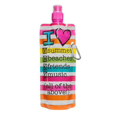 3C4G Three Cheers for Girls I Heart Summer Collapsible Water Bottle - Toyabella.com