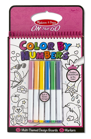 Melissa & Doug Color By Numbers Pink Coloring Book - ON the GO Travel Activity - Toyabella  - 1