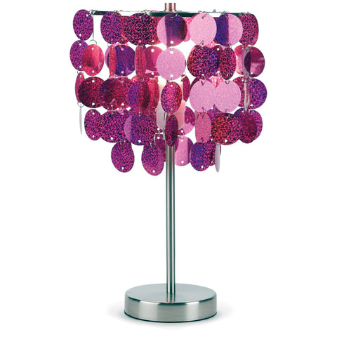 3c4g Three Cheers For Girls Fuchsia Paillette Table Lamp - Toyabella.com