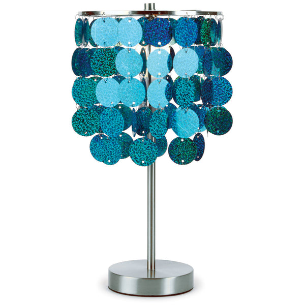 Three Cheers Turquoise Paillette Table Lamp - Toyabella