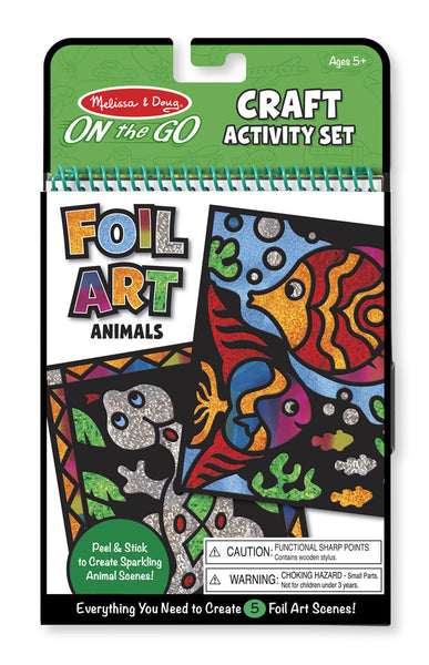 Melissa & Doug Animal Foil Art Book - ON the GO Craft Activity - Toyabella  - 1