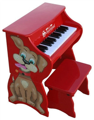Schoenhut 25 Key Piano Pals Dog Piano w/ Bench - Red - Toyabella.com