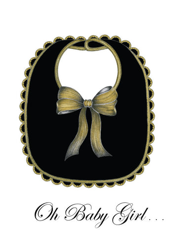 S.E. Hagarman Designs Greeting Card - Oh Baby Girl Bib [Hand Embellished] - Toyabella.com