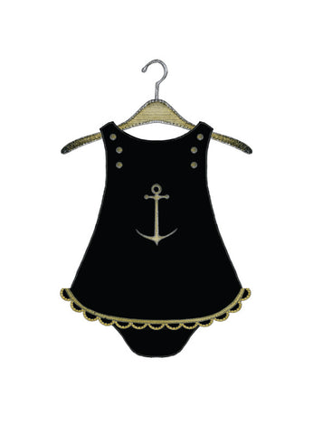 S.E. Hagarman Designs Greeting Card - Girls Anchor Baby Outfit [Hand Embellished] - Toyabella.com