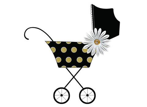 S.E. Hagarman Designs Greeting Card -  Black and Gold Polka Dot Stroller - Chic Card - Toyabella.com