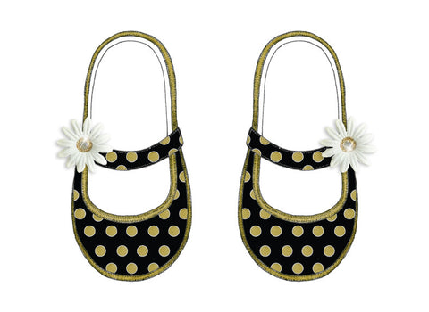 S.E. Hagarman Designs Greeting Card - Black and Gold Polka Dot Baby Booties - Chic Card - Toyabella.com