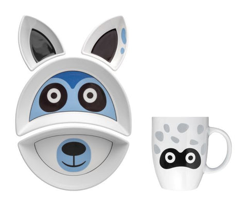 RACCOON Kit Pappa Plate & Cup Set by Flowerssori - Toyabella.com