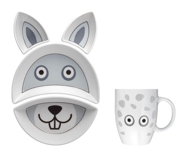 RABBIT Kit Pappa Plate & Cup Set by Flowerssori - Toyabella.com